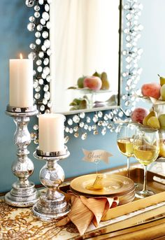 A sculptural and sparkly mirror is a great way to liven up any room