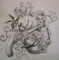 Pirate Tattoo Sketch By Cut Throat Jake On Deviantart Design 900x921 Pixel