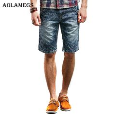 >> Click to Buy << Aolamegs Men Denim Shorts Men 's Vintage Snow Wash Jeans Shorts Cowboy Bottoms Pure Cotton Embroidered Male Knee Length Jeans #Affiliate
