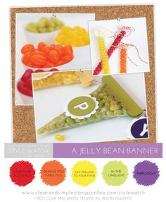 SW | Sweet Decor | Clear and Simple Stamps | Jelly Bean Banner | Banner 1 dies | Uppercase dies | Shapes: Circles | Candy Banners | Birthday | Candy Theme | Rainbow Sweets