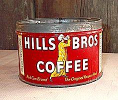 Vintage Hills Bros Key Wind Coffee Tin