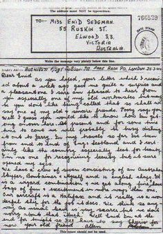Friends exchange letters during wartime, 1944. Enid gets in touch with her old work colleague Allan who is in the RAAF posted in London. After a series of letters, Allan is presumed missing and never returns home. Enid sends a sympathy message to his mother and receives a kind note in return. #Letter