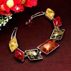 Women/Girl's Vintage Retro Bohemia Silver Plated amber Gem Colorful Bracelets & Bangles Jewelry Gifts
