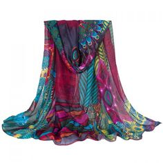 $3.73 Chic Ethnic Style Flowers and Graffiti Pattern Multicolor Voile Scarf For Women