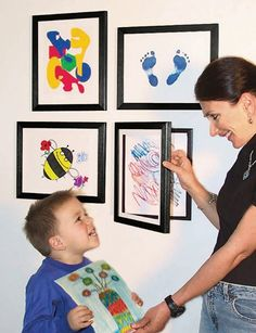 easily interchangeable frames - that you don't have to take done to change the artwork/photograph. Great both for future kids and photos.