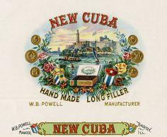 Antique Cuban Cigar Label Cigar Box Art, Vintage Cigar Box, Cigar Boxes, Paper Dolls Printable, Printable Crafts, Printables, Vintage Labels, Vintage Posters, Cuba Cigar