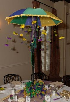 mardi gras umbrella used as a centerpiece... I think it would be cute for a baby shower centerpiece :)