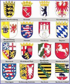 ღღ Die Wappen der Bundesländer - coat of arms German States Berlin Brandenburg, German Language Learning, Learn German, Flags Of The World, Crests, Coat Of Arms, Bavaria, Germany Travel, Badge