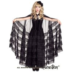 Adora Black Mesh Cape with Lace by Sinister