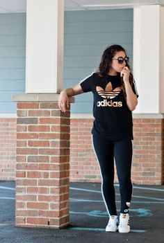 Bayann from Bay's Style Diary wearing an adidas leggings and t-shirt rose gold set with Adidas sneakers- work out style- stay fit style- adidas style, athliesure style