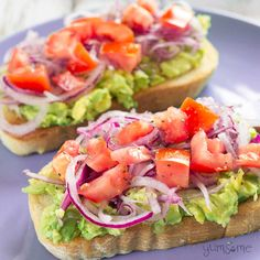 If you have time to make toast, you have time to make this easy-peasy avocado bruschetta; it's super-quick to make, and you can prepare the toppings while the toast is cooking. | yumsome.com