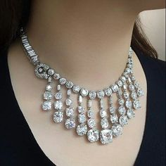 """Diamond Necklaces : Image Description : """"This gloriously restored Art Deco Cartier necklace was first purchased at NY in 1937 Diamond Pendant Necklace, Diamond Gemstone, Diamond Jewelry, Diamond Necklaces, Necklace Set, Luxury Jewelry, Modern Jewelry, Fine Jewelry, Jewelry Box"""