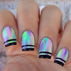 55 Gorgeous Metallic Nail Art Designs - Coat your nails in multi color and add black metallic strips for the French tip and look absolutely - Great Nails, Cute Nail Art, Fabulous Nails, Gorgeous Nails, Cute Nails, Trendy Nail Art, Neon Nails, Holographic Nails, Pastel Nails