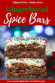 Incredibly moist, soft, and chewy Gingerbread Spice Bars. These Christmas cookie bars are easy to make and super simple. These holiday bars are gluten free and have a cream cheese frosting with a dairy free option. The perfect festive Christmas cookie. Dairy Free Frosting, Gluten Free Cupcakes, Gluten Free Desserts, Holiday Bars, Holiday Desserts, Holiday Recipes, Dairy Free Recipes Easy, Easy Cookie Recipes, Recipe Ingredients List