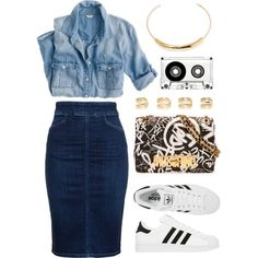 Denim on Denim. by goldiloxx on Polyvore featuring J.Crew, Citizens of Humanity, Moschino, Jennifer Fisher, Maison Margiela and adidas