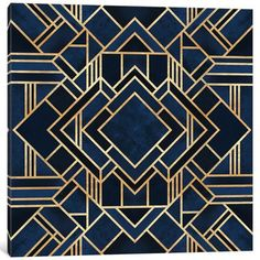 Symmetrical art deco design of dark blue shapes bordered with intricate gold lines. Art Deco Blue Wall Art by Elisabeth Fredriksson from Great BIG Canvas. Motif Art Deco, Art Deco Design, Art Deco Print, Art Deco Bar, Art Deco Borders, Art Deco Fabric, Art Deco Rugs, Art Deco Decor, Art Deco Home