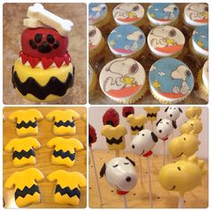 Snoopy, Woodstock and Charlie Brown themed cake pops with matching cookies and cupcakes. https://www.facebook.com/Kimssweetkarma