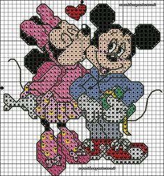 schema punto croce Topolino e Minnie