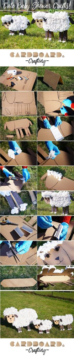 How to make cute baby shower decorations for your yard. These little sheep are cheap to make and are perfect for baby showers, birthdays, mother's day and more!
