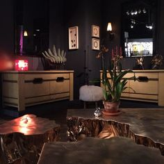 """maisongerard: """"#BasedUpon coffee table and Max Ingrand chests in our booth at the #IntlShow"""""""