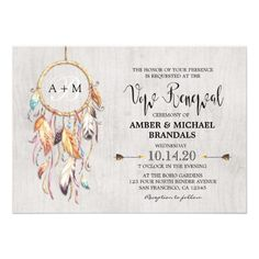 21 best wedding vow renewal invitations images on pinterest vow boho dreamcatcher wedding vow renewal invitations solutioingenieria Image collections