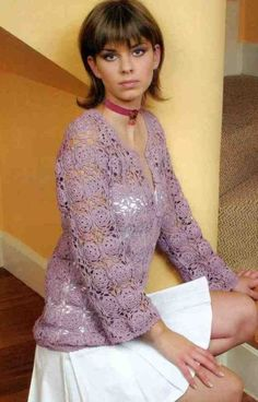 Free Lace Flower Square Cardigan Crochet Pattern