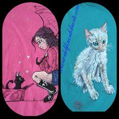 Gatitos de amigos y gatitos para amigos...pintadas a mano con pincel.