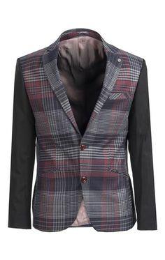 Plaid Body Contrast Sleeves Blazer
