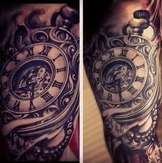 stunning antique pocket watch tattoos for your next ink Tattoos Masculinas, Grace Tattoos, Time Tattoos, Body Art Tattoos, Cool Tattoos, Tatoos, Pocket Watch Tattoo Design, Pocket Watch Tattoos, Small Animals