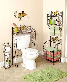 Add sparkle to your bathroom with the decorative jewels and colorful metallic finish of the Bronze Owl Bathroom Collection. Each piece helps keep your esse