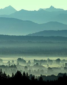 """""""Mountains and Valley"""" photo by Doug Mathews    """"Looking southeast across the Fraser Valley in British Columbia towards the Coast Mountains."""""""