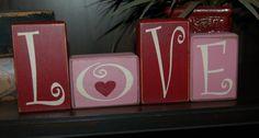 VALENTINES Day Primitive Blocks LOVE Heart door SimpleBlockSayings