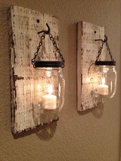 Rustic barn wood mason jar candle holders. Set of 2