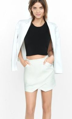 ivory high waisted asymmetrical skirt from EXPRESS