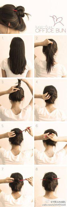 Office hair bun with chopstick                                                                                                                                                                                 More