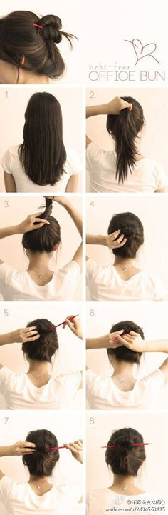 Office hair bun with chopstick