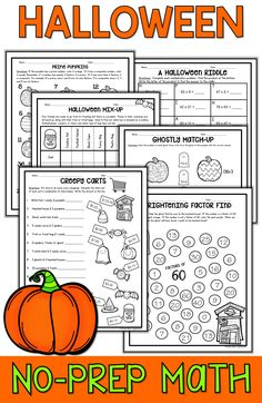 Halloween Math activities are fun and easy for teachers looking for Halloween printable  ideas for 3rd, 4th grade, 5th, and middle school students! These no-prep Halloween Math pages are ideal for small groups, centers, and individual learning for kids in October. These worksheets include Halloween multiplication, division, logic puzzle, word problems, factors, and prime number Halloween sheets.