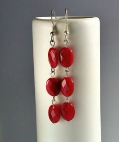 Sterling Silver & Faceted Red Quartz Ovals Dangle by PhoebeKiKi, €19.00