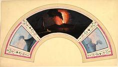 Watercolor on vellum illustrating a range, tryptic of erupting Vesuvius - anonymous author 18th century - Harris Brisbane Dick Fund, 1938 / Metropolitan Museum of Art NY