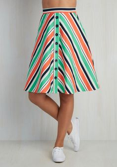 With Books to Match Skirt in Chevron. Youve got the drive to earn that degree, and this white, chevron-striped skirt proves you have A style smarts, too! #multi #modcloth