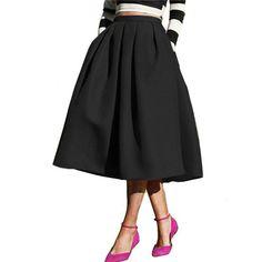 Sheinside A Line Flare Pleated Fashion Street Style Women's Solid Plain Casual Vintage Elegant Pockets Midi Skirt