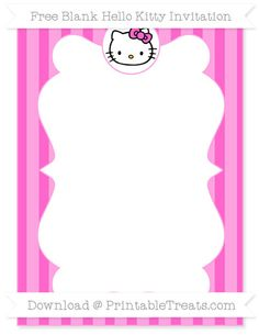 Free Rose Pink Striped  Blank Hello Kitty Invitation