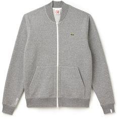 Grey Unisex Lacoste Live Zip Bomber Neck Fleece Sweatshirt (155 CAD) ❤ liked on Polyvore featuring tops, hoodies, sweatshirts, grey top, zip up top, zipper top, zip up sweatshirts and kangaroo pocket sweatshirt