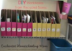 Organize your school day with easy to make, recycled DIY Workboxes!