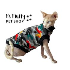 Excited to share this item from my #etsy shop: Sphynx cat clothes   Comfortable sleeved tops   Sphynx clothes   cat clothes   cat lover gift   sphynx #sphynxcatclothes #petclothes #petsupplies #sphynxclothes #catclothing #petclothing #sphynxclothing #sphynxcat Sphynx Cat Clothes, Pet Clothes, Cat Lover Gifts, Cat Lovers, Cat Skin, Pet Shop, Pet Supplies, Collaboration, Ireland