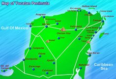 Cancun, Quintana Roo, Mexico  Map    http://cancunrentacar.com/images/yucatan_peninsula_map.jpg