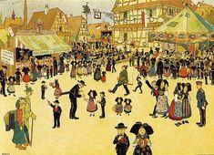 Dessin de Hansi, artiste alsacien du début du XXème siècle, en haut à gauche Stand de pains d'épices de Gertwiller de Silbereis, prédécesseur d'Alfred Lips dans la fabrique de pain d'épice, lors d'un Messti (fête du village)