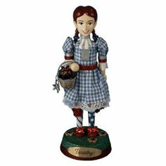 """Kurt Adler 9"""" Wizard of Oz Dorothy Nutcracker (OZ6101L) by Kurt Adler. $56.99. Officially licensed. Dimensions: 9""""H. Material(s): painted wood/fabric. Display this Dorothy nutcracker during the holidays or all year long with her lace-trimmed dress and basket with her little dog Toto.   Nutcracker has inscription that reads """"Dorothy"""".  For decorative purposes only; nutcracker is not functional."""