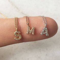 14K Solid Gold diamond initial necklace. This dainty necklace comes with thin and elegant 14k solid gold chain. You can order all letters by choosing your gold color from drop down menu and write me your letter as a note with your purchase. I am using conflict free, F/G color VS1