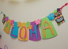 Hawaiian Theme Birthday Party | Luau banner, hawaiian party decorations, kids birthday, tiki mask
